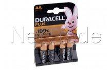 Duracell pile alcaline  aa  / mn1500 / lr06 plus 100% extra life  blister 4 pcs - 12731