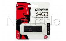 Kingston datatraveler 100 generation 3 - 64gb usb3.1 flash drive black read 100 mb/sec - DT100G364GB