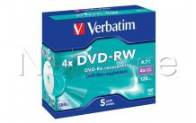 Verbatim datalifeplus 5-pack dvd-rw 4.7 gb 4x speed jewel case - 43285